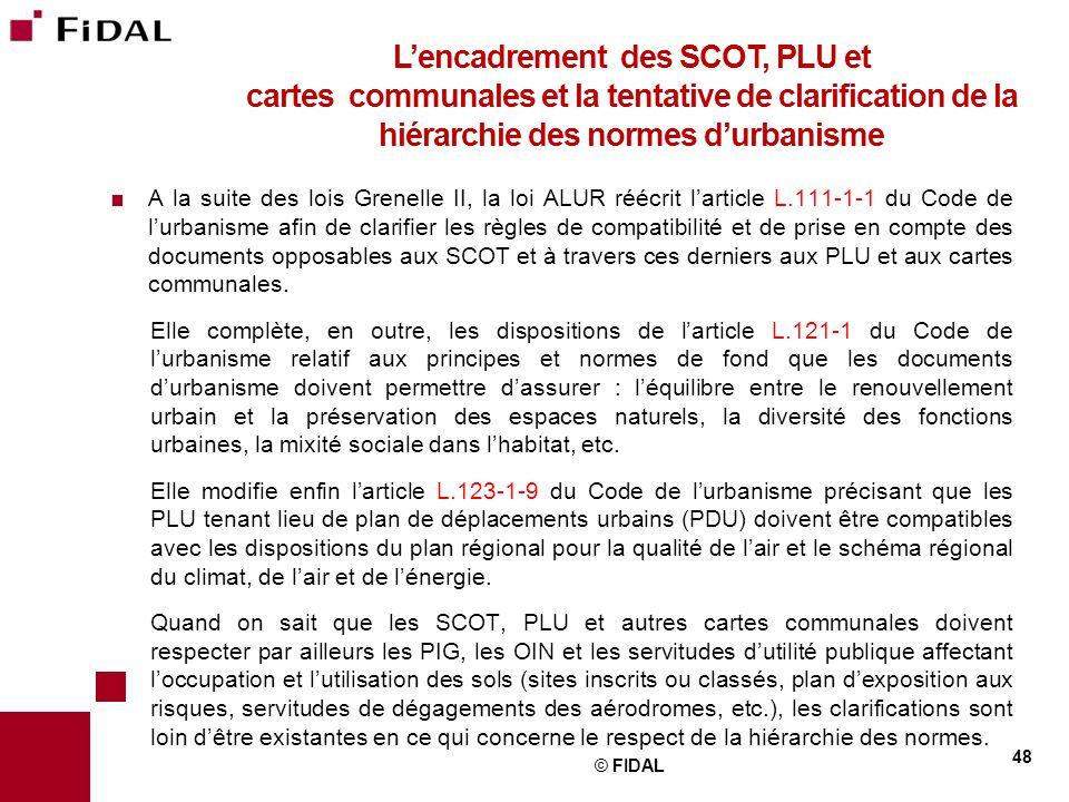 L'encadrement des SCOT, PLU et cartes communales et la tentative de clarification de la hiérarchie des normes d'urbanisme