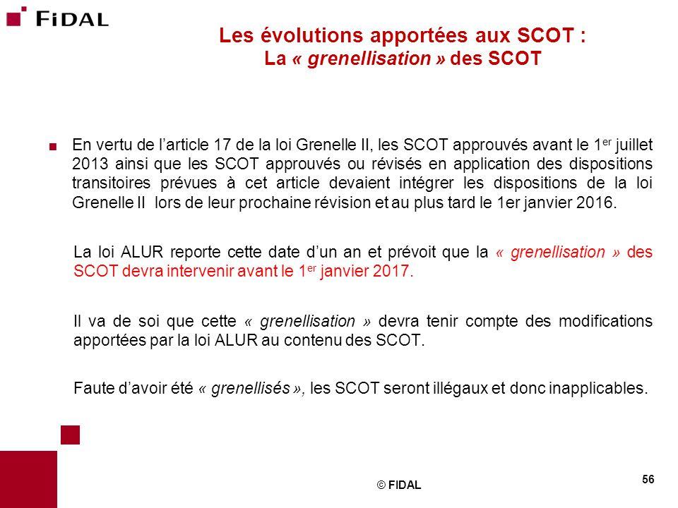 Les évolutions apportées aux SCOT : La « grenellisation » des SCOT