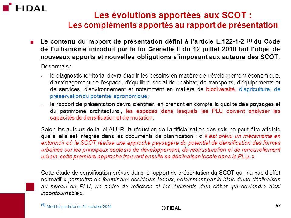 Les évolutions apportées aux SCOT : Les compléments apportés au rapport de présentation