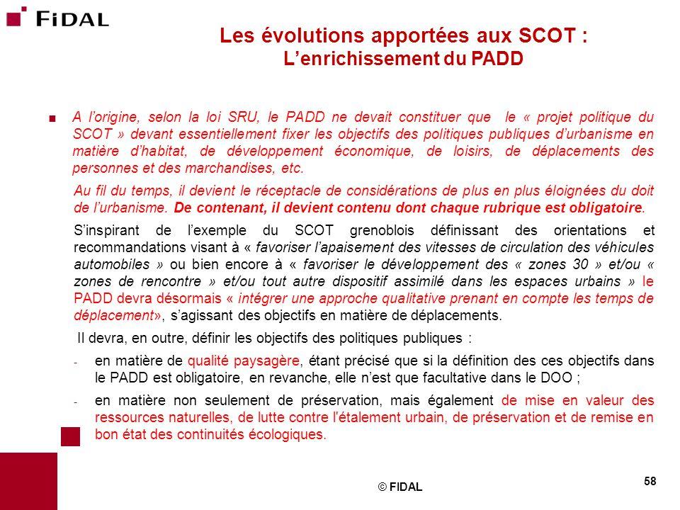 Les évolutions apportées aux SCOT : L'enrichissement du PADD