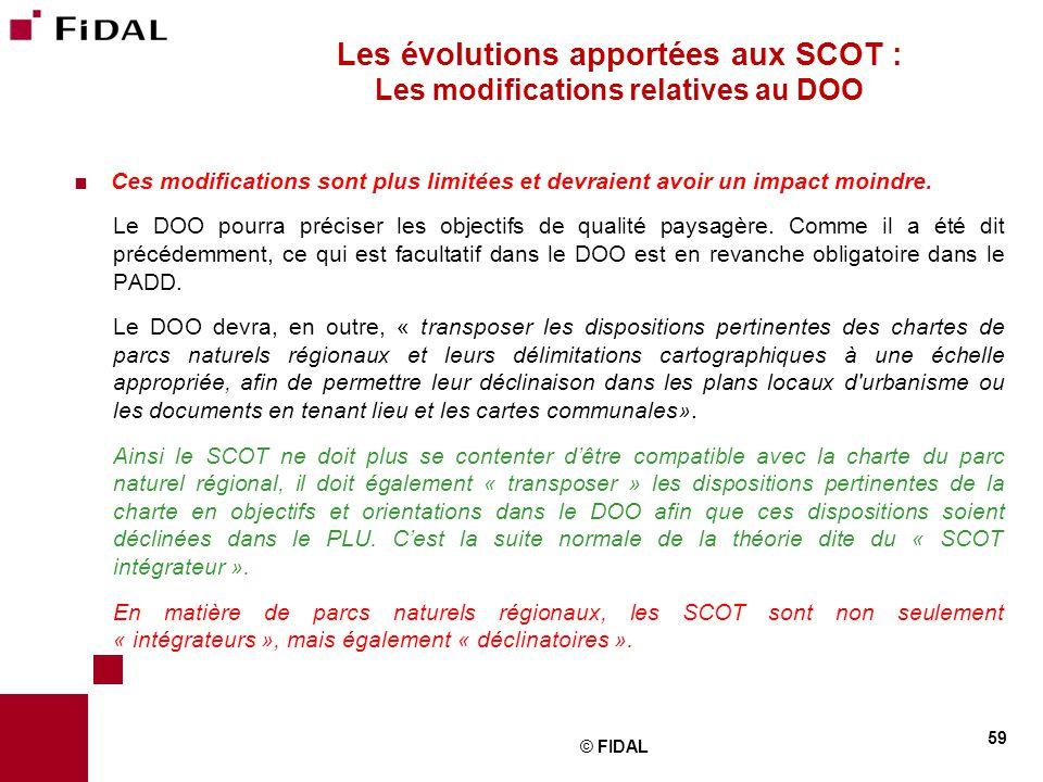 Les évolutions apportées aux SCOT : Les modifications relatives au DOO