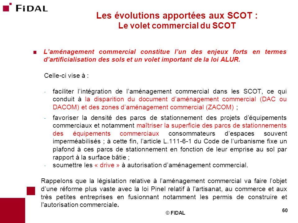 Les évolutions apportées aux SCOT : Le volet commercial du SCOT