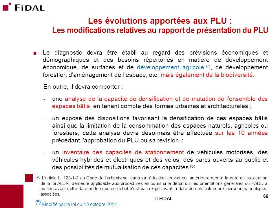 Les évolutions apportées aux PLU : Les modifications relatives au rapport de présentation du PLU