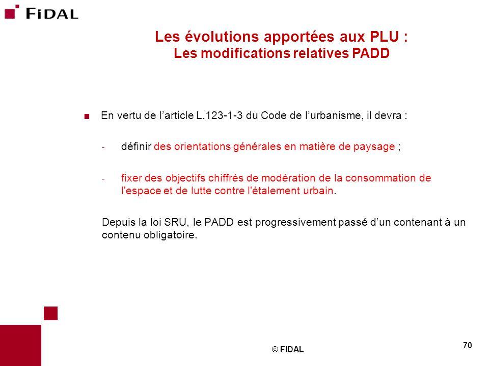 Les évolutions apportées aux PLU : Les modifications relatives PADD