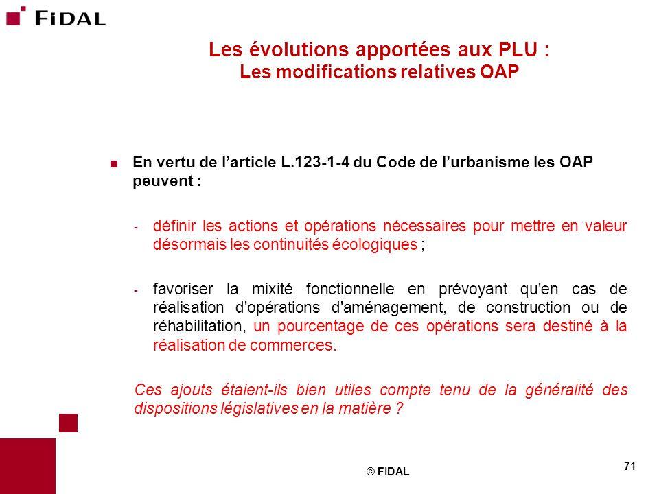 Les évolutions apportées aux PLU : Les modifications relatives OAP