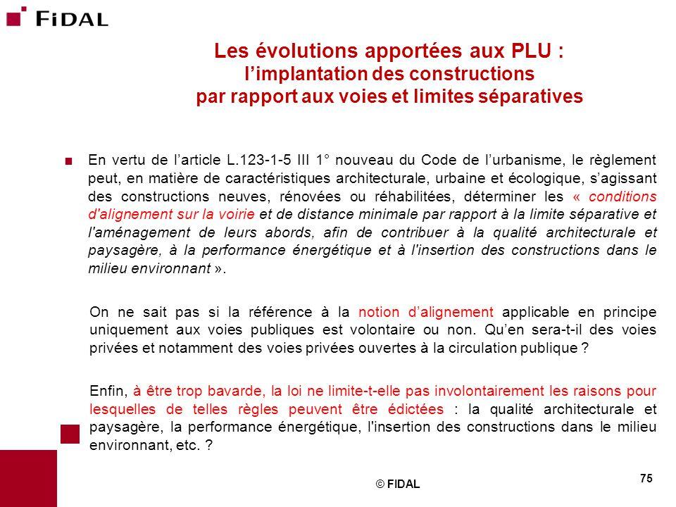 Les évolutions apportées aux PLU : l'implantation des constructions par rapport aux voies et limites séparatives