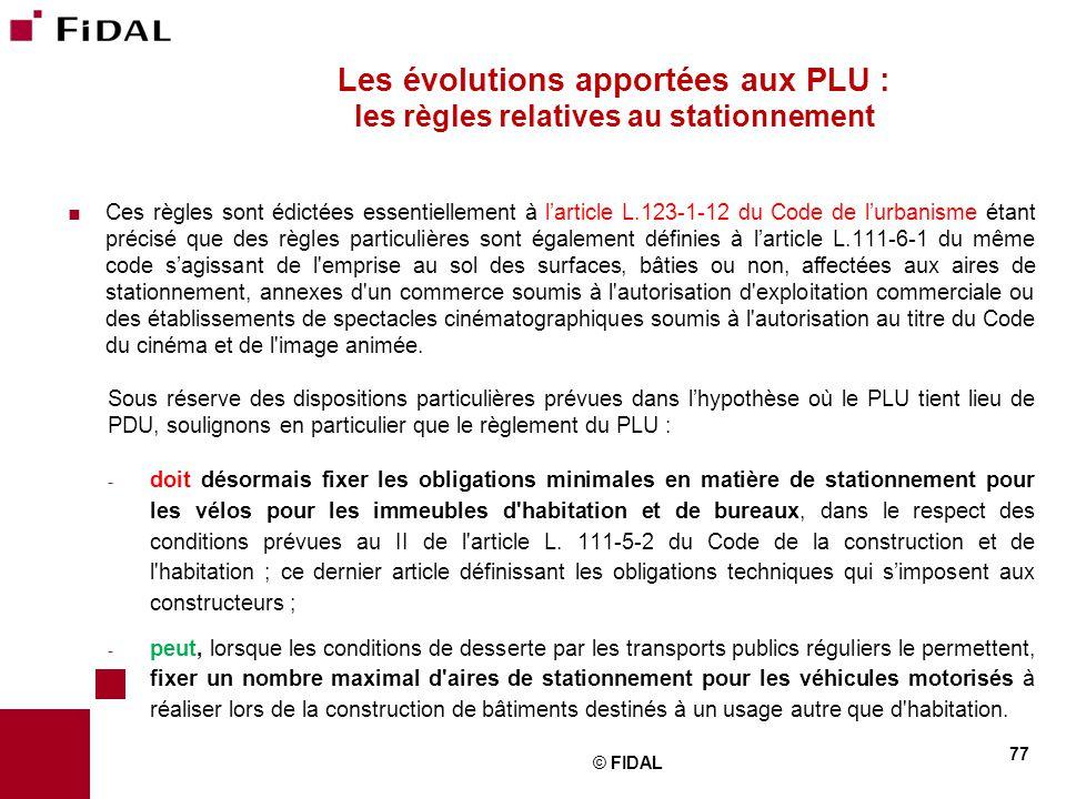 Les évolutions apportées aux PLU : les règles relatives au stationnement