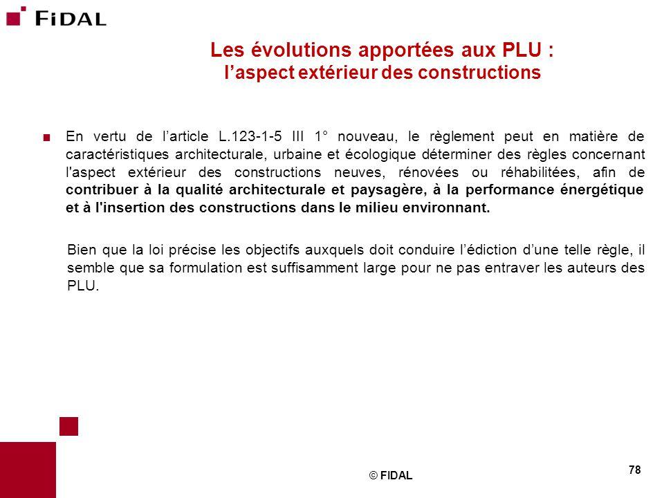Les évolutions apportées aux PLU : l'aspect extérieur des constructions
