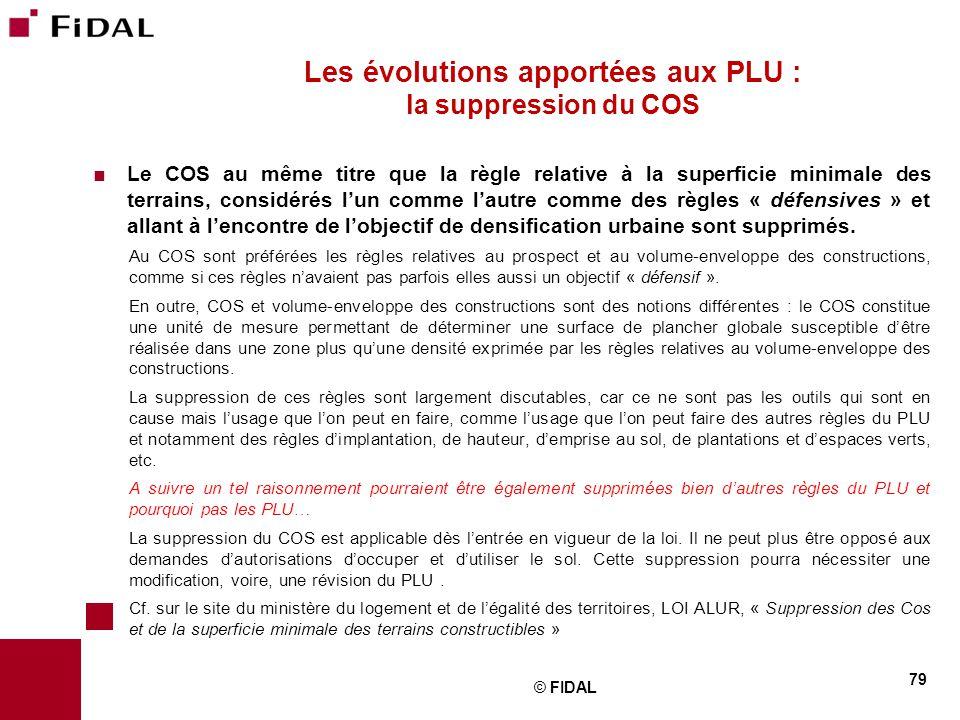 Les évolutions apportées aux PLU : la suppression du COS