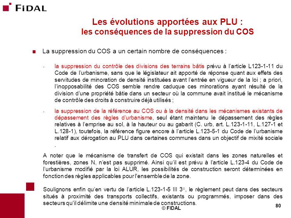 Les évolutions apportées aux PLU : les conséquences de la suppression du COS