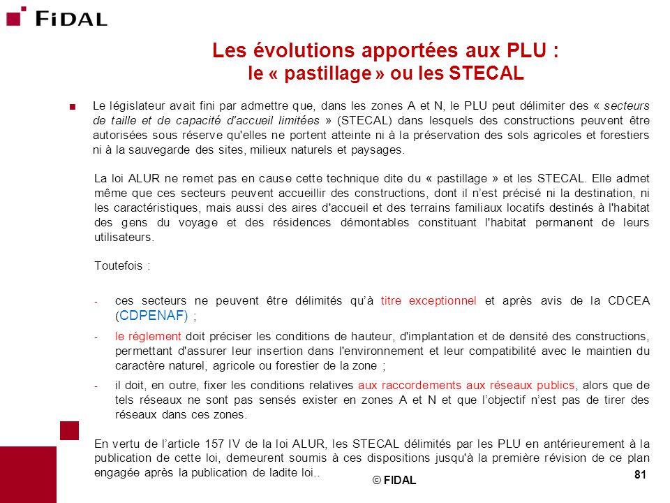 Les évolutions apportées aux PLU : le « pastillage » ou les STECAL