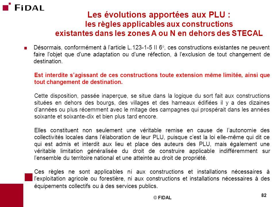 Les évolutions apportées aux PLU : les règles applicables aux constructions existantes dans les zones A ou N en dehors des STECAL