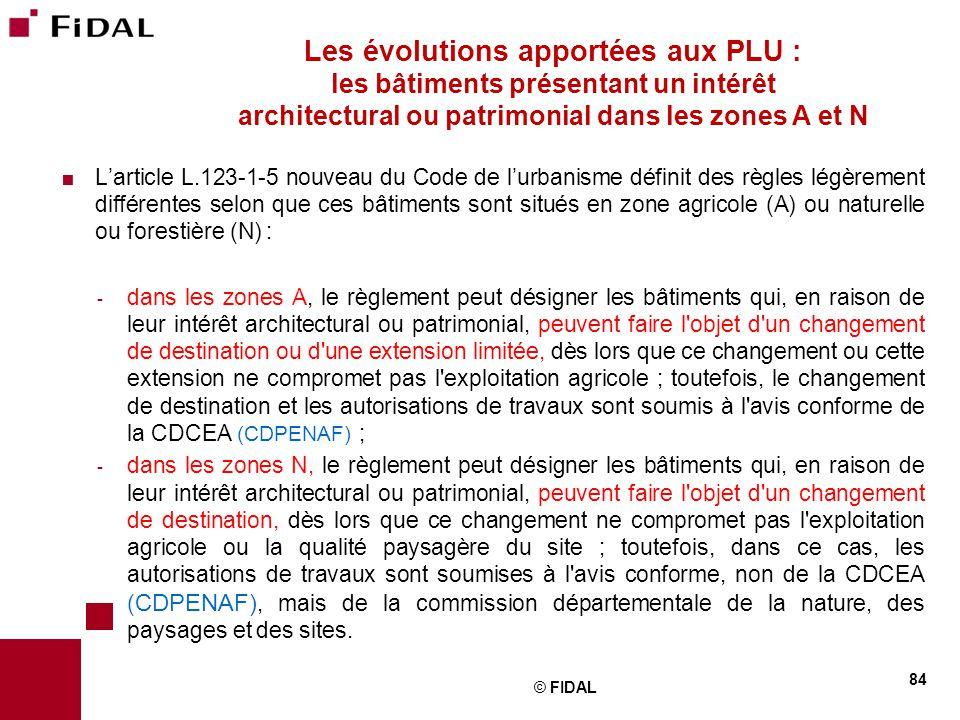 Les évolutions apportées aux PLU : les bâtiments présentant un intérêt architectural ou patrimonial dans les zones A et N