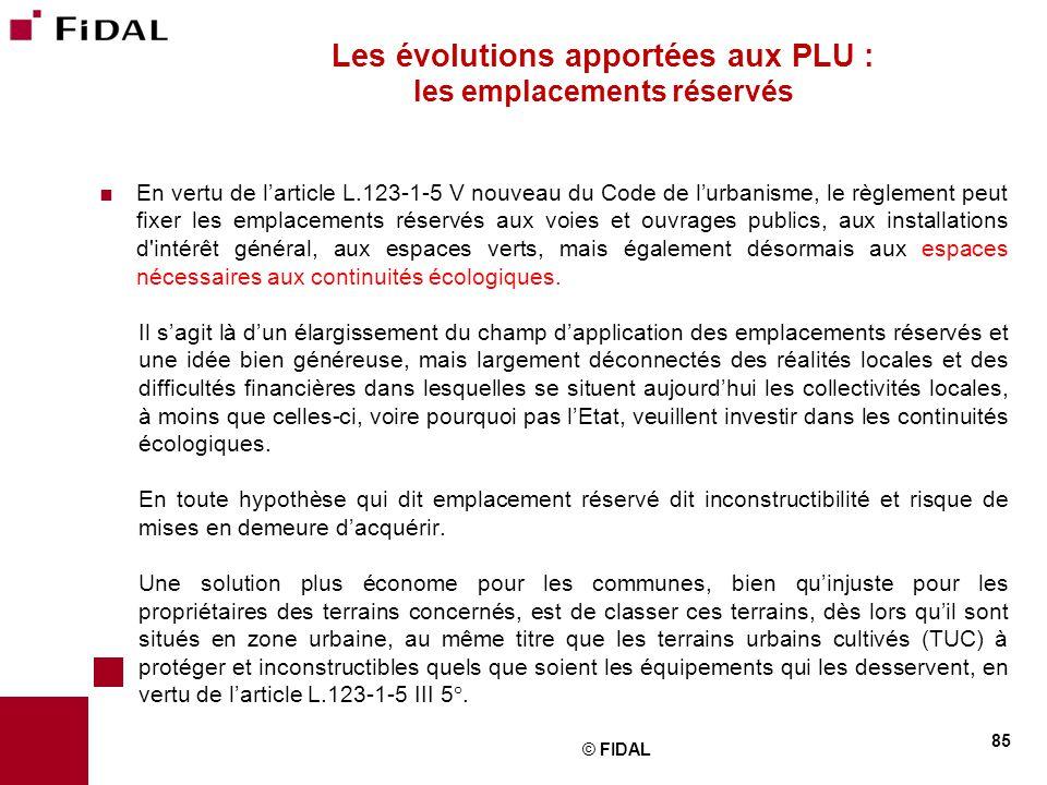 Les évolutions apportées aux PLU : les emplacements réservés