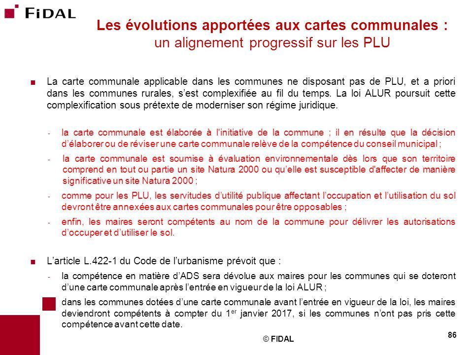 Les évolutions apportées aux cartes communales : un alignement progressif sur les PLU