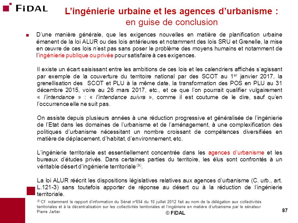 L'ingénierie urbaine et les agences d'urbanisme : en guise de conclusion