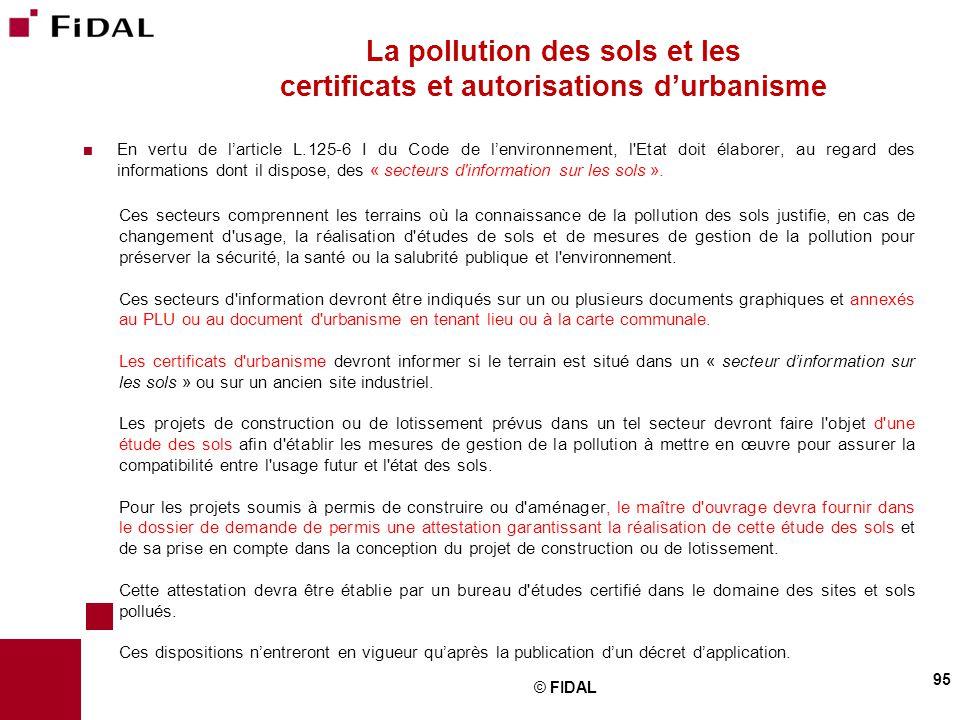 La pollution des sols et les certificats et autorisations d'urbanisme