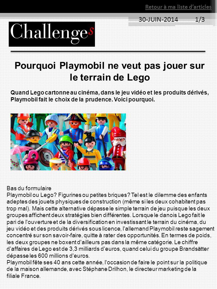 Pourquoi Playmobil ne veut pas jouer sur le terrain de Lego