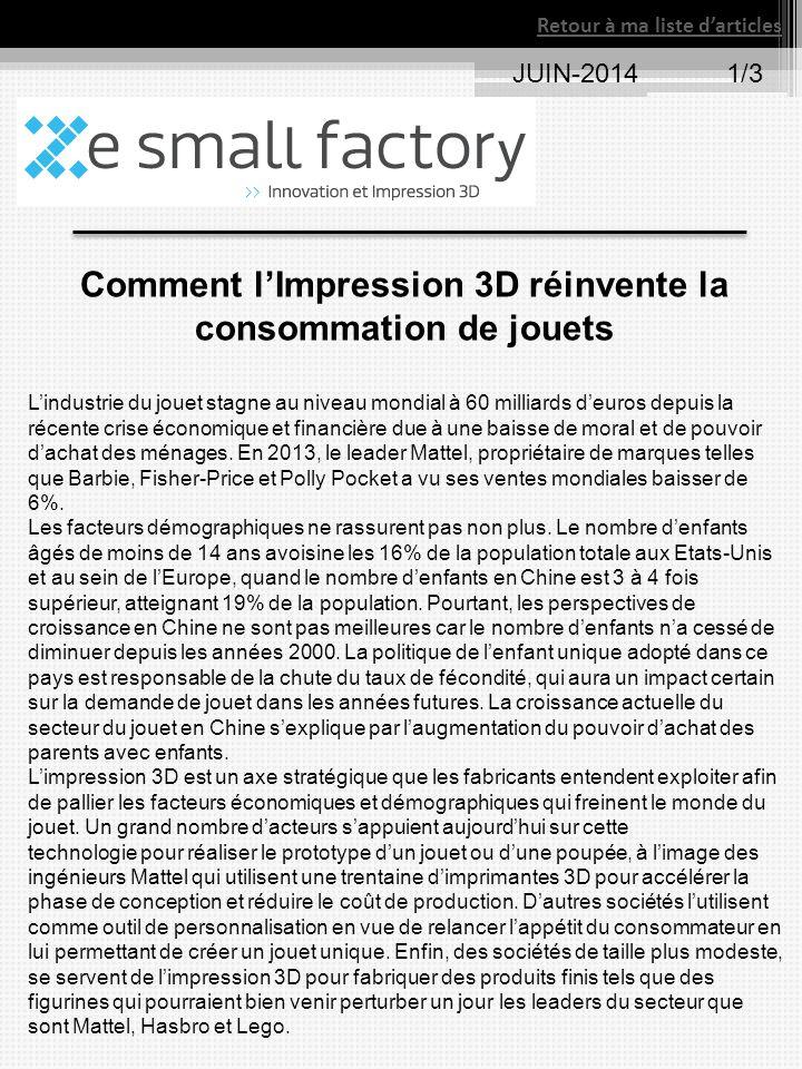 Comment l'Impression 3D réinvente la consommation de jouets