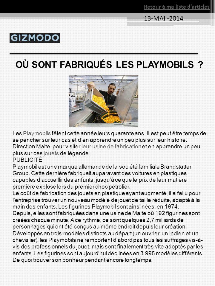 OÙ SONT FABRIQUÉS LES PLAYMOBILS