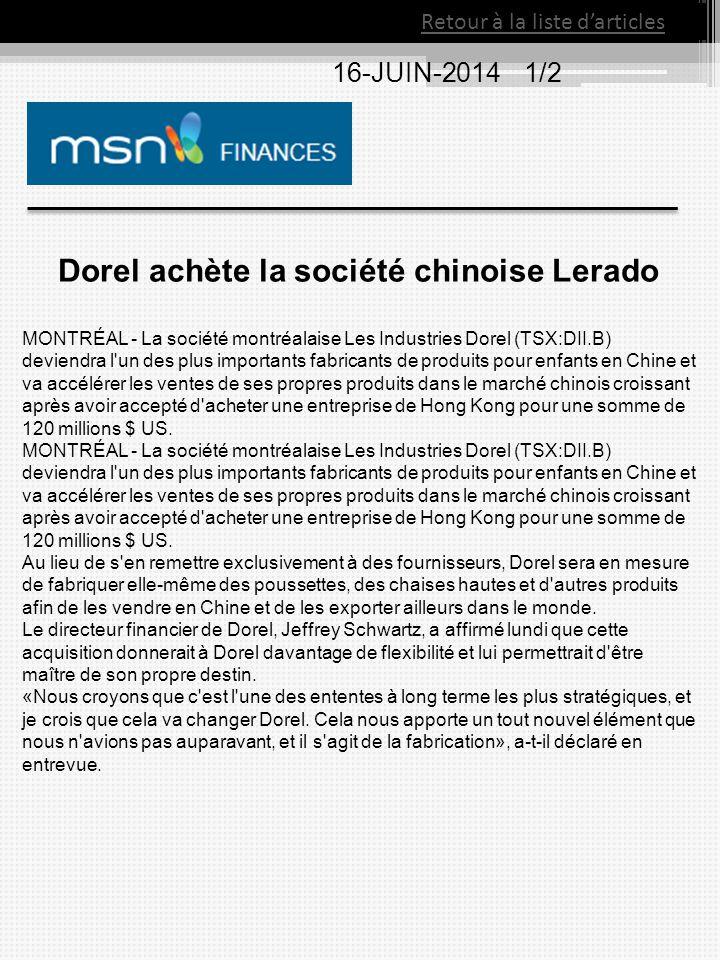 Dorel achète la société chinoise Lerado