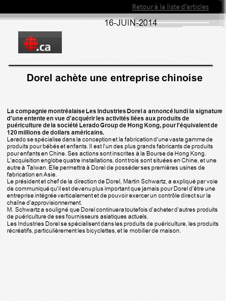 Dorel achète une entreprise chinoise
