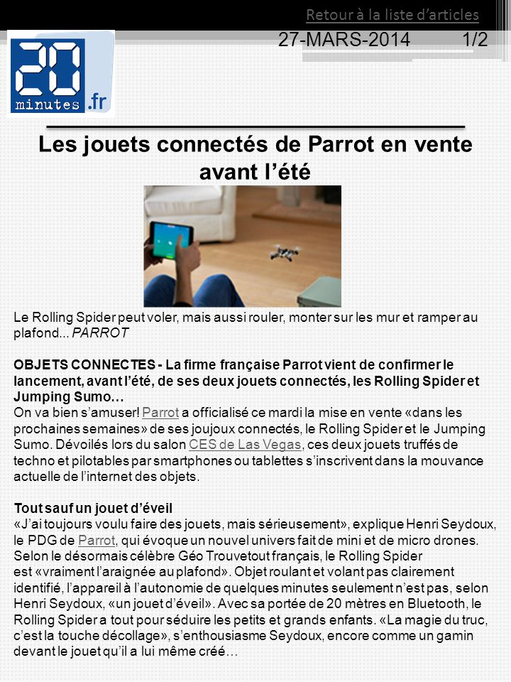 Les jouets connectés de Parrot en vente avant l'été