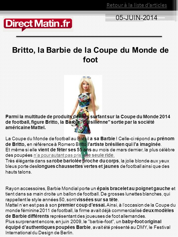 Britto, la Barbie de la Coupe du Monde de foot