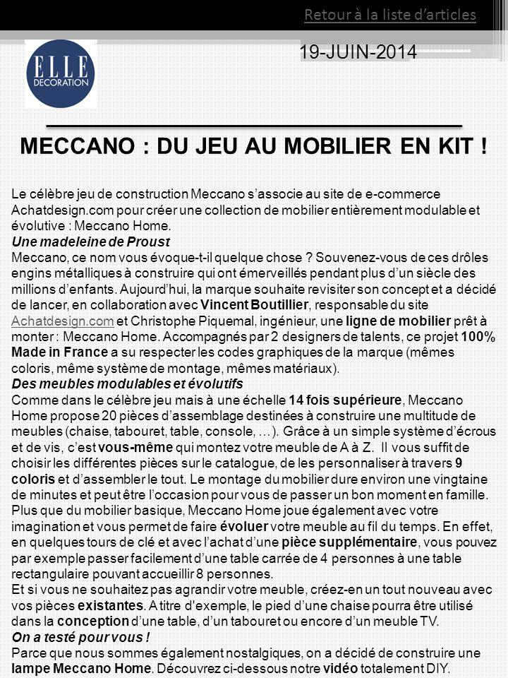 MECCANO : DU JEU AU MOBILIER EN KIT !