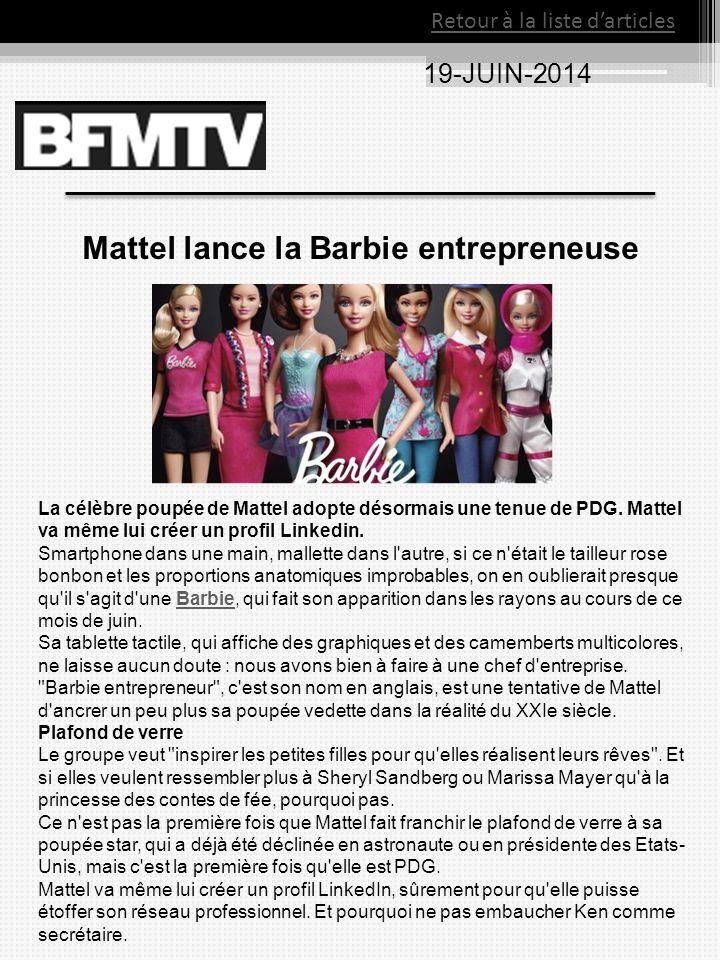 Mattel lance la Barbie entrepreneuse