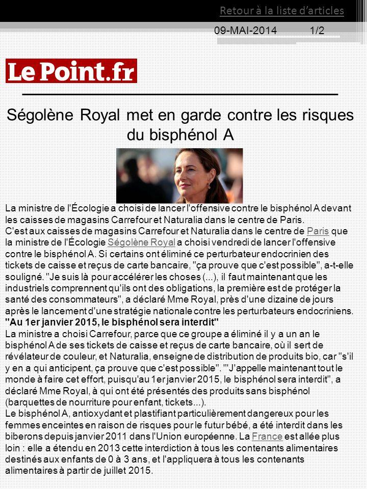 Ségolène Royal met en garde contre les risques du bisphénol A