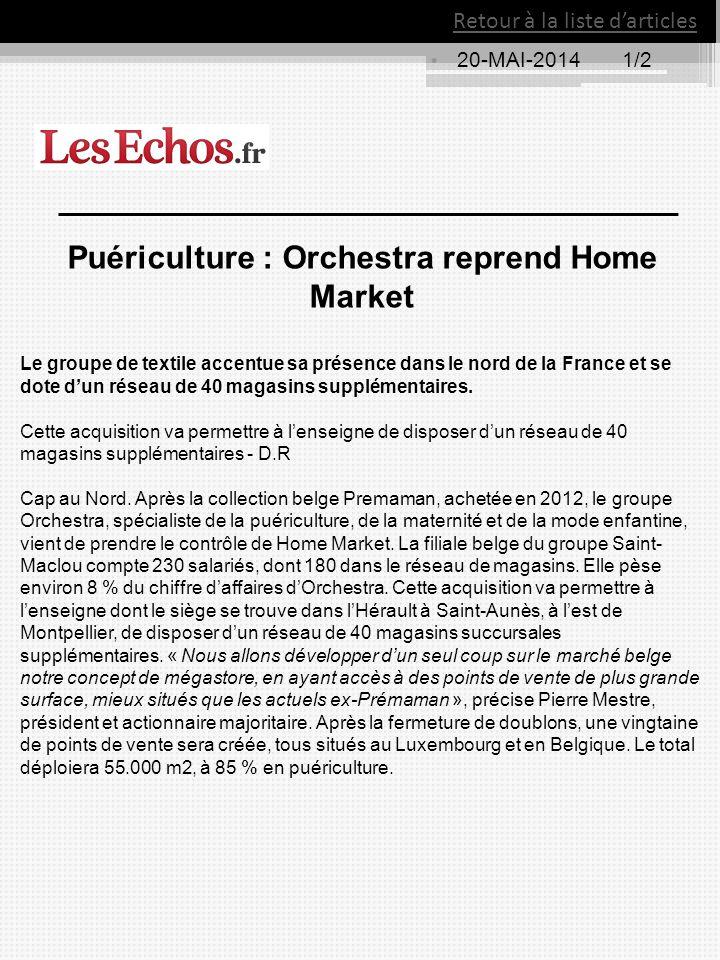 Puériculture : Orchestra reprend Home Market
