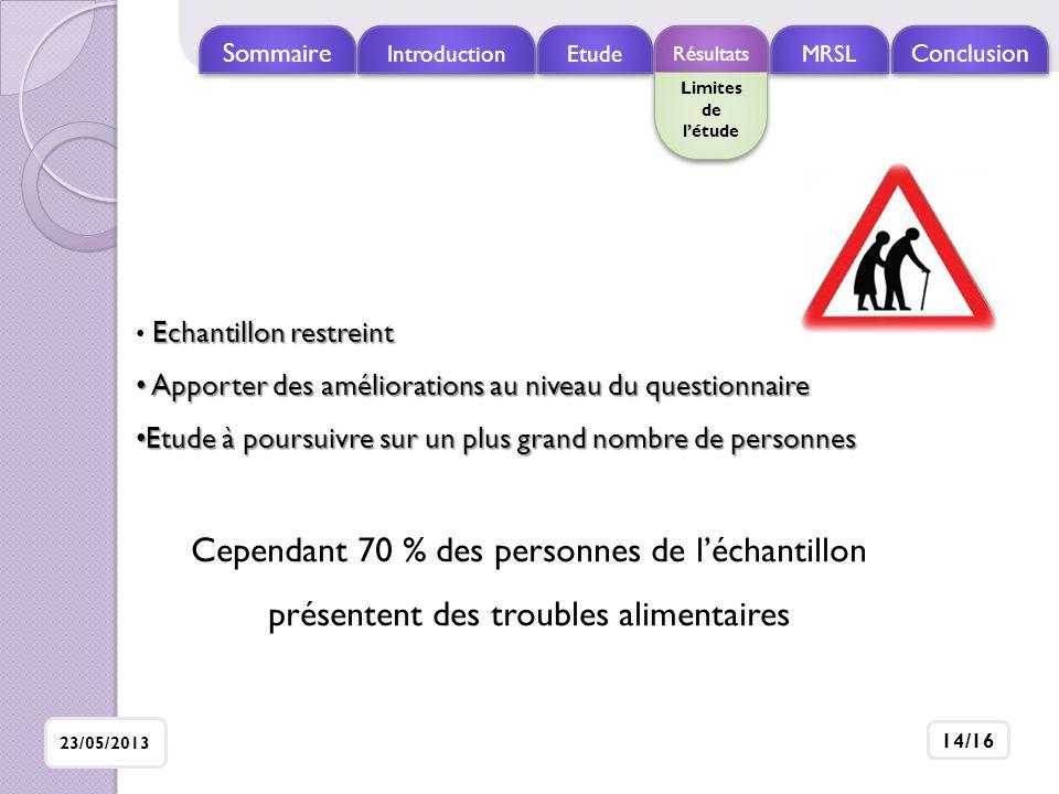 Sommaire Introduction. Etude. Résultats. MRSL. Conclusion. Limites de l'étude. Echantillon restreint.