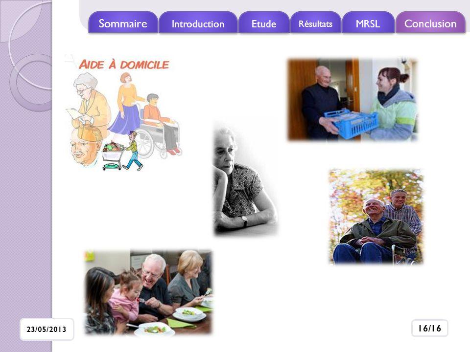 Sommaire Introduction Etude Résultats MRSL Conclusion 23/05/2013 16/16