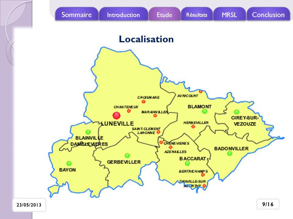 Localisation Sommaire Conclusion Introduction Etude MRSL Résultats