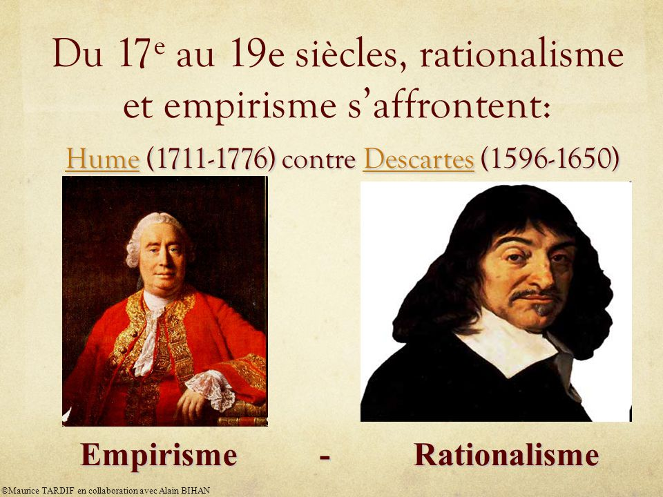 Du 17e au 19e siècles, rationalisme et empirisme s'affrontent: Hume (1711-1776) contre Descartes (1596-1650)