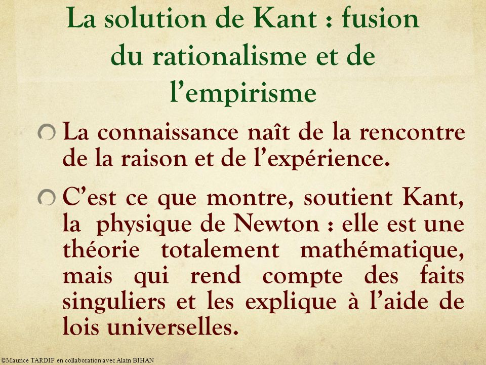La solution de Kant : fusion du rationalisme et de l'empirisme