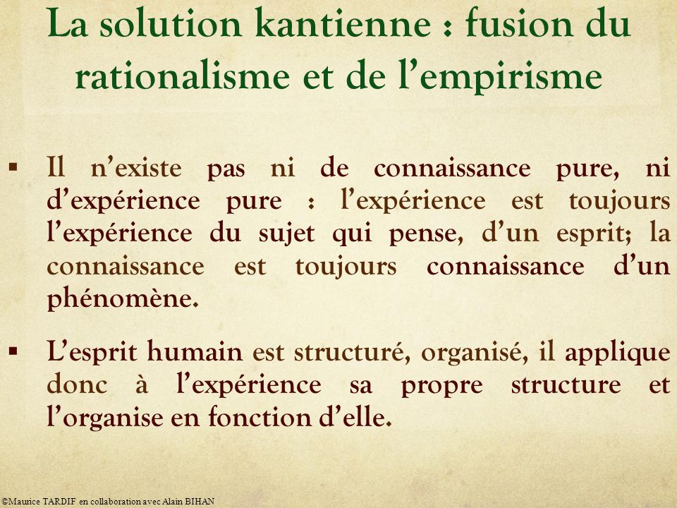 La solution kantienne : fusion du rationalisme et de l'empirisme