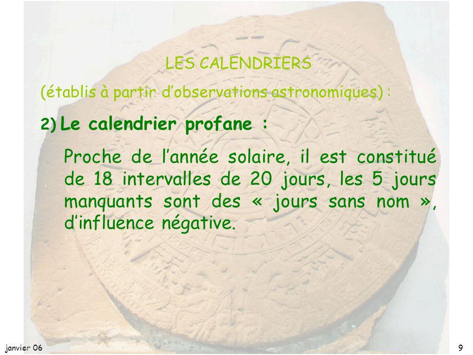 avril 17 LES CALENDRIERS. (établis à partir d'observations astronomiques) : 2) Le calendrier profane :