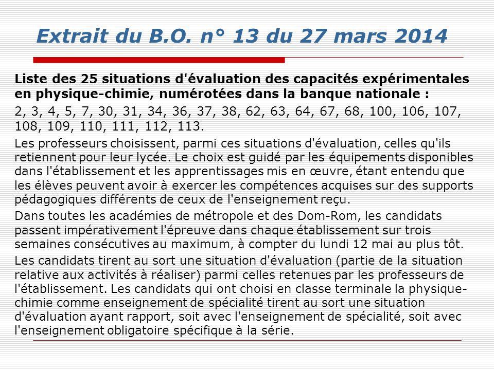 Extrait du B.O. n° 13 du 27 mars 2014