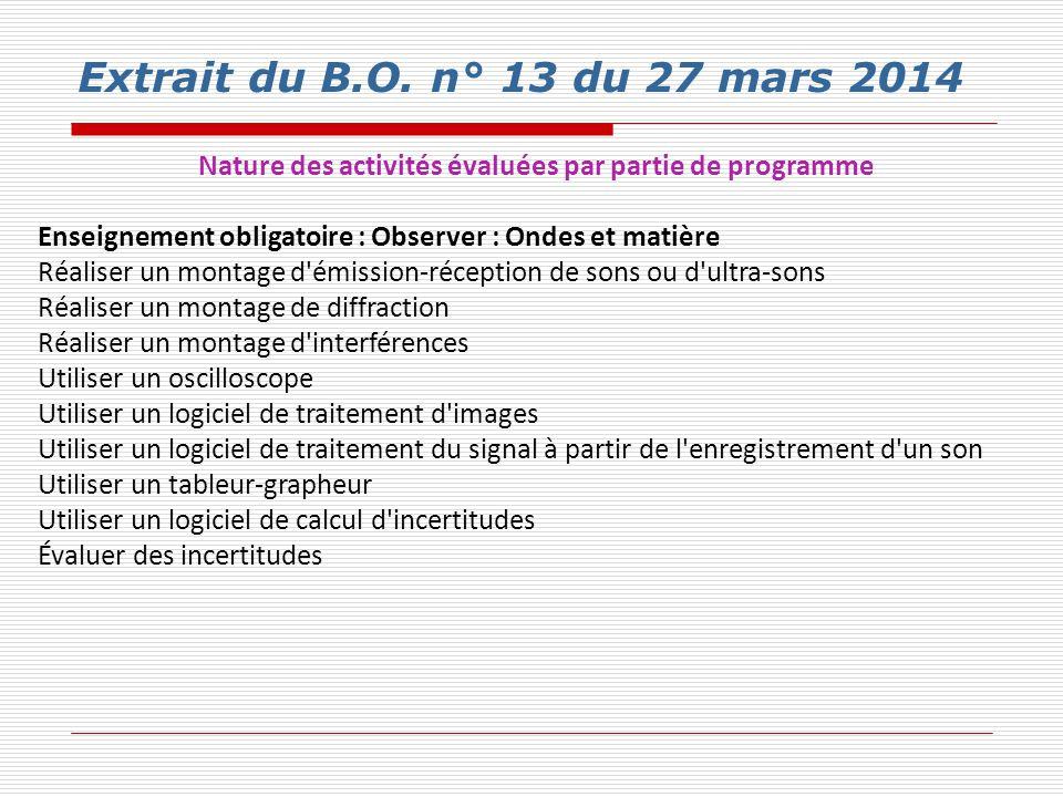 Nature des activités évaluées par partie de programme