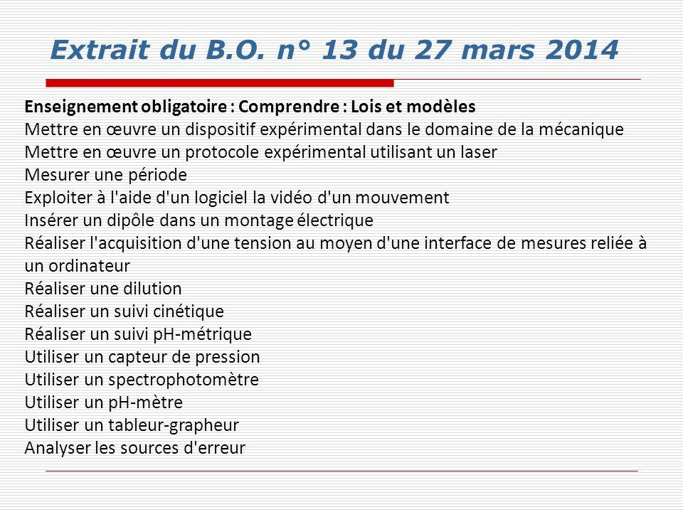 Extrait du B.O. n° 13 du 27 mars 2014 Enseignement obligatoire : Comprendre : Lois et modèles.