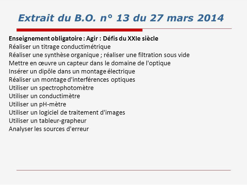 Extrait du B.O. n° 13 du 27 mars 2014 Enseignement obligatoire : Agir : Défis du XXIe siècle. Réaliser un titrage conductimétrique.