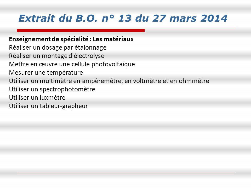 Extrait du B.O. n° 13 du 27 mars 2014 Enseignement de spécialité : Les matériaux. Réaliser un dosage par étalonnage.