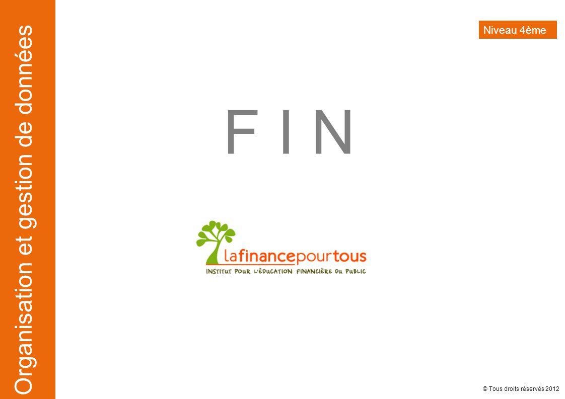 Niveau 4ème F I N © Tous droits réservés 2012