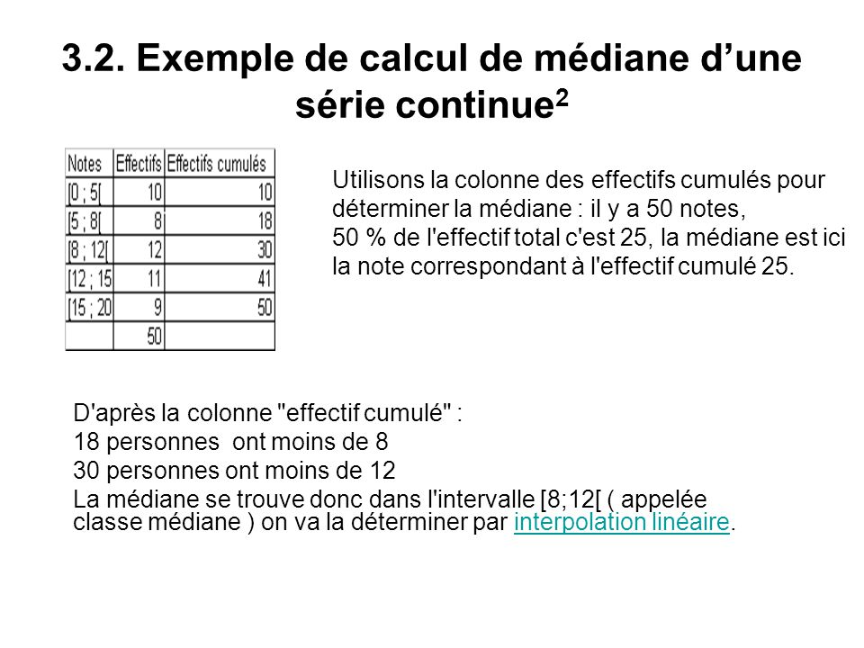 3.2. Exemple de calcul de médiane d'une série continue2