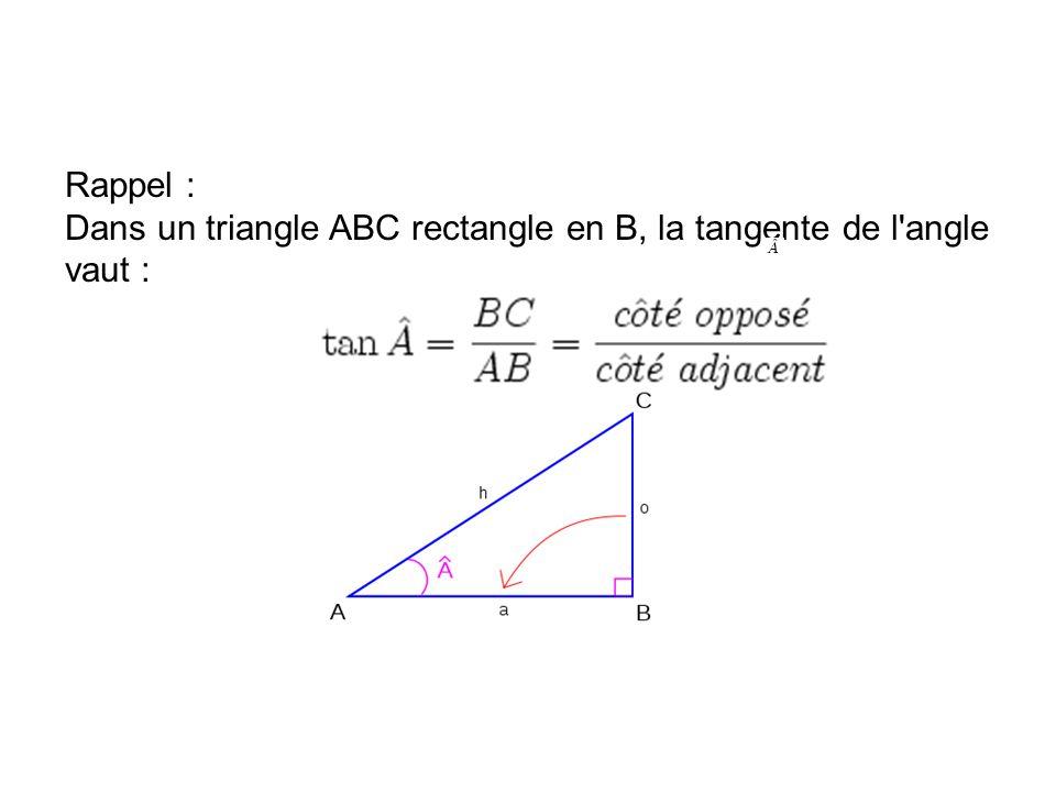 Rappel : Dans un triangle ABC rectangle en B, la tangente de l angle vaut :