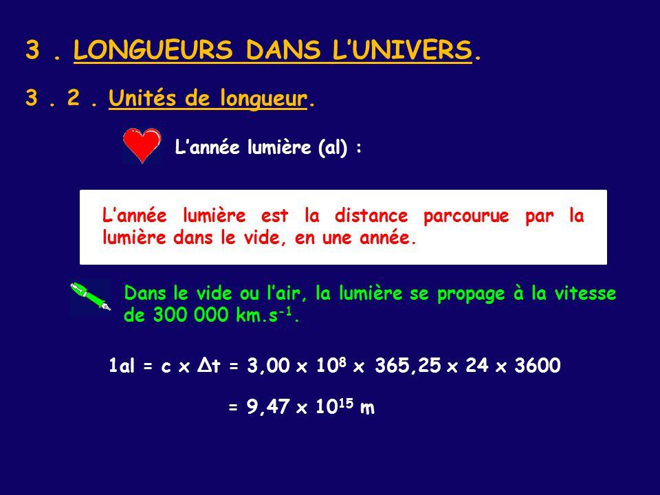 3 . LONGUEURS DANS L'UNIVERS.