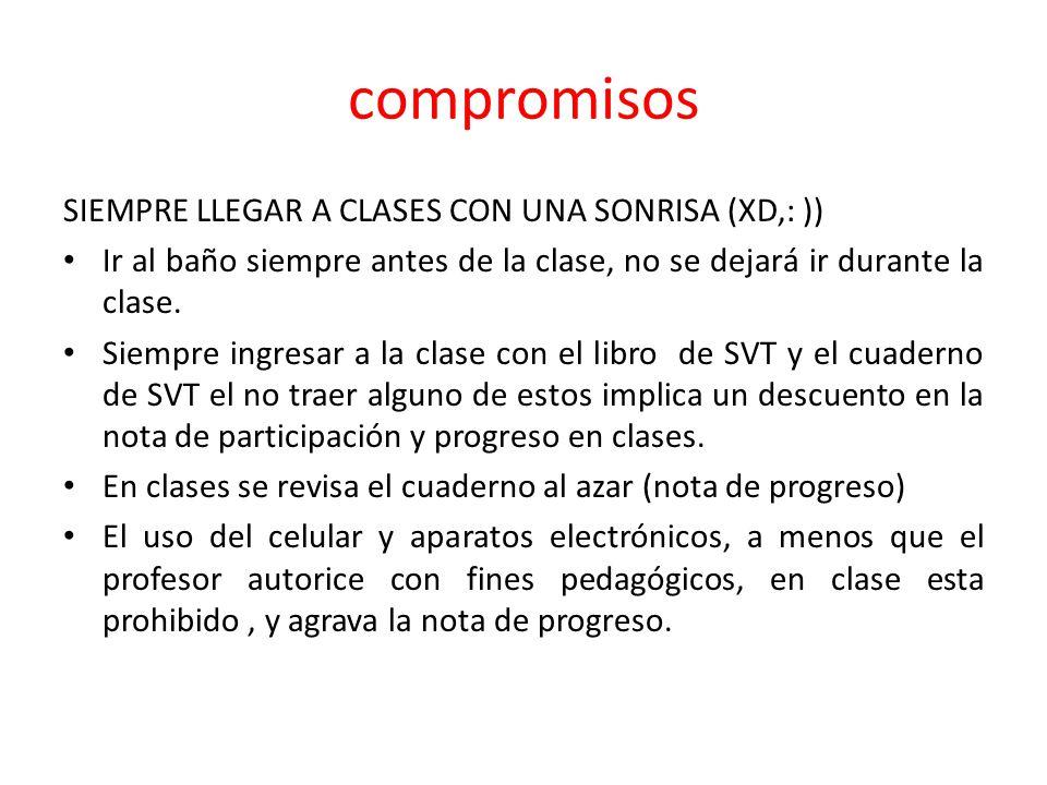 compromisos SIEMPRE LLEGAR A CLASES CON UNA SONRISA (XD,: ))