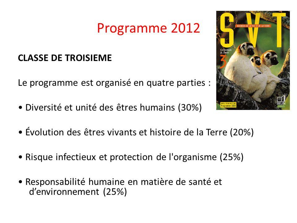 Programme 2012 CLASSE DE TROISIEME